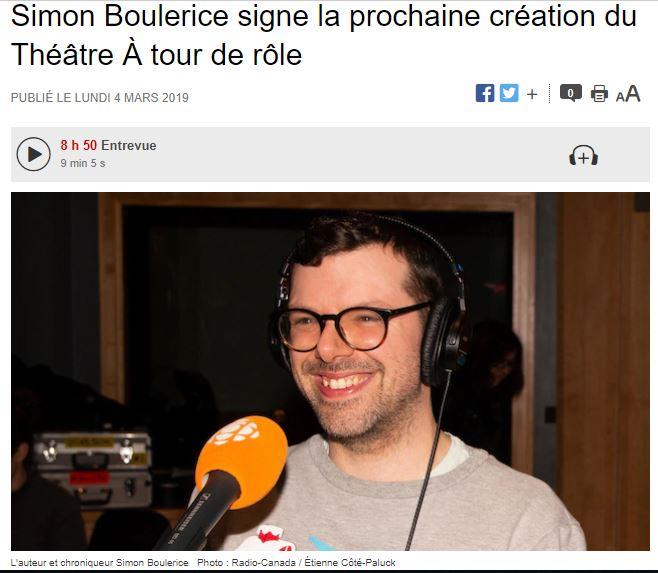 Simon Boulerice, entrevue à Bon pied, bonne heure, 4 mars 2019